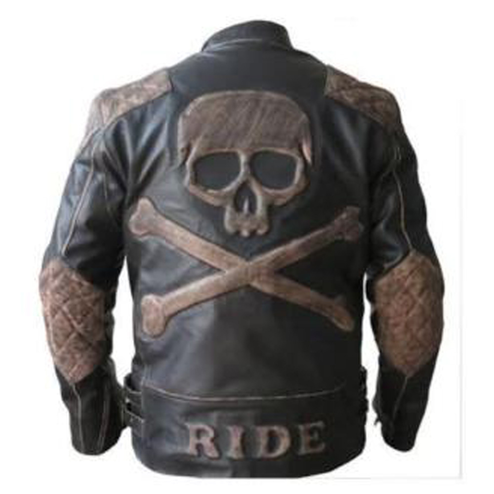 Biker Reinforced Vintage Distressed Black with Skull Leather Jacket