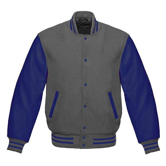 Baseball Varsity Jacket Navy Leather Sleeves