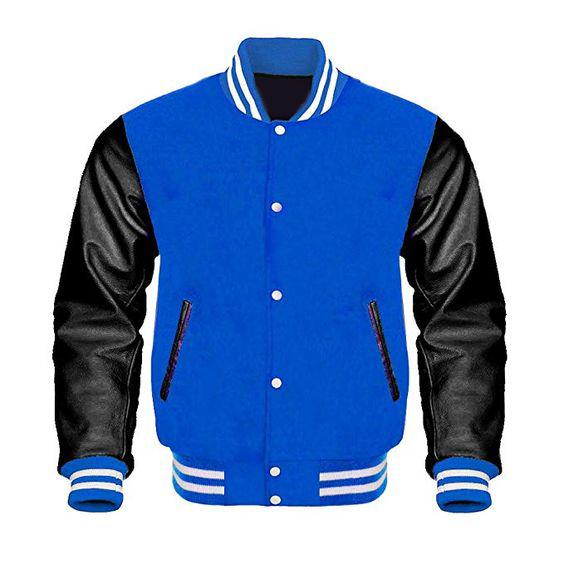 Letterman Baseball Varsity Jacket Black Leather Royal Blue