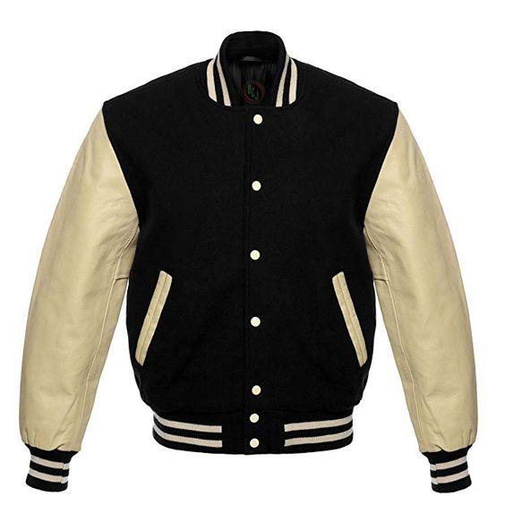 Letterman Baseball Varsity Jacket Cream Sleeves