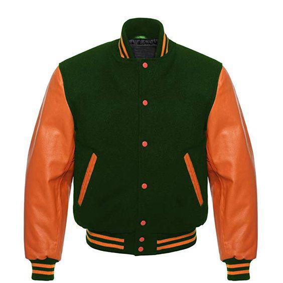 Letterman Baseball Varsity Jacket Orange Leather Sleeves