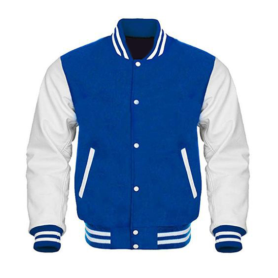 Letterman Baseball Varsity Jacket White LeatherRoyal Blue