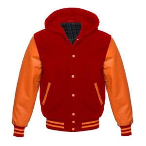 Letterman Varsity Hoodie Orange Leather Sleeves