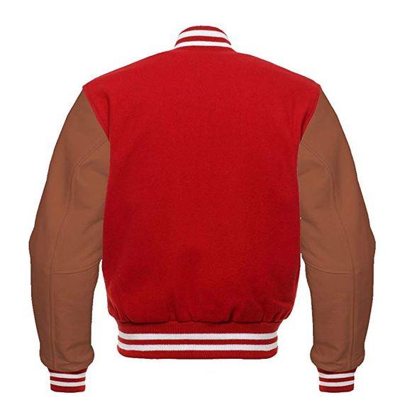 Letterman Varsity Jacket Brown Leather Sleeves (1)