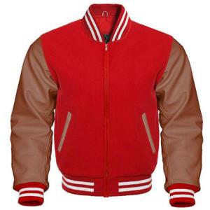 Letterman Varsity Jacket Brown Leather Sleeves (2)