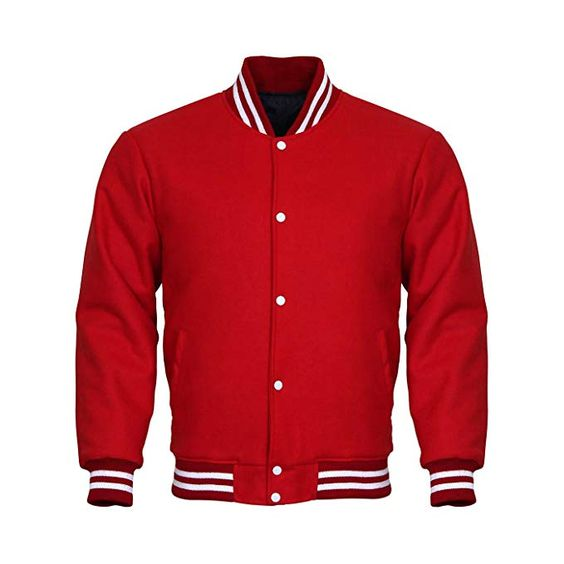 Letterman Varsity Jacket Full Wool Red White
