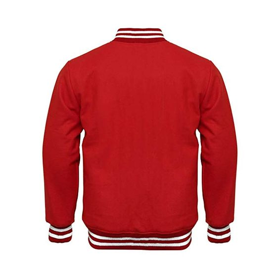 Letterman Varsity Jacket Full Wool Red White1