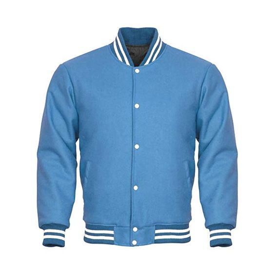 Letterman Varsity Jacket Full Wool Sky Blue White