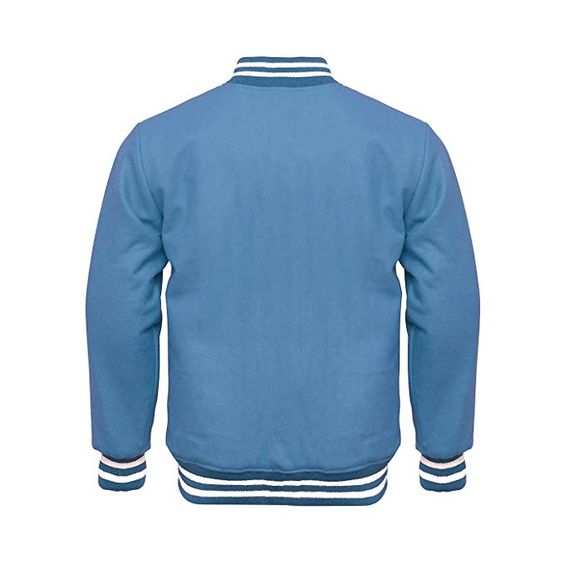 Letterman Varsity Jacket Full Wool Sky Blue White1