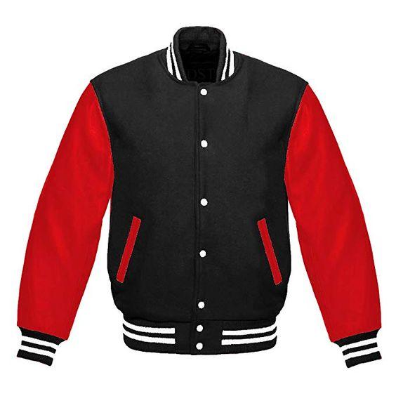 Letterman Varsity Jacket Red Leather Sleeves