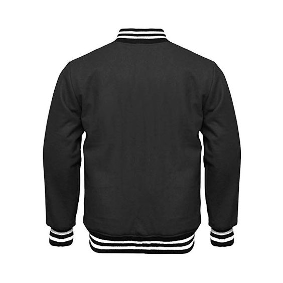 Varsity Jacket Full Wool Black with White Strips (1)