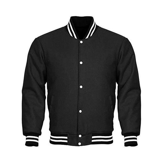Varsity Jacket Full Wool Black with White Strips (2)
