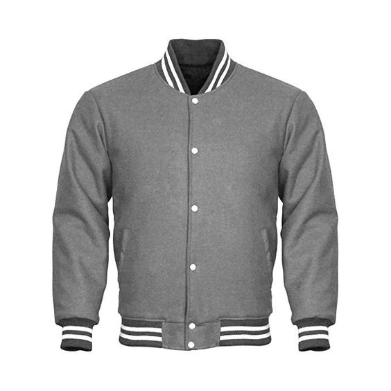 Varsity Jacket Full Wool Gray with White Strips