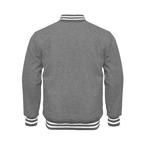 Varsity Jacket Full Wool Gray with White Strips1