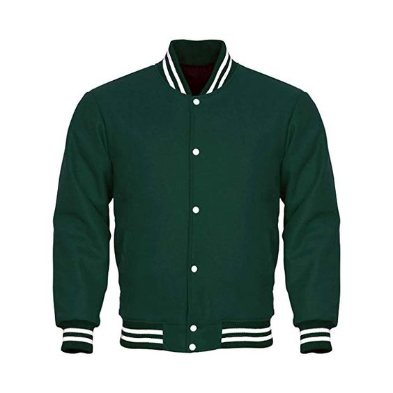 Varsity Jacket Full Wool Green with White Strips (1)