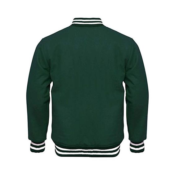 Varsity Jacket Full Wool Green with White Strips (2)