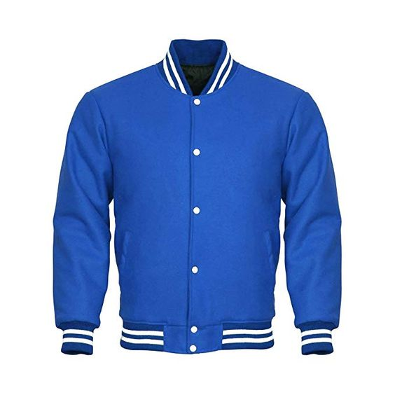 Varsity Jacket Full Wool Royal Blue White Strips