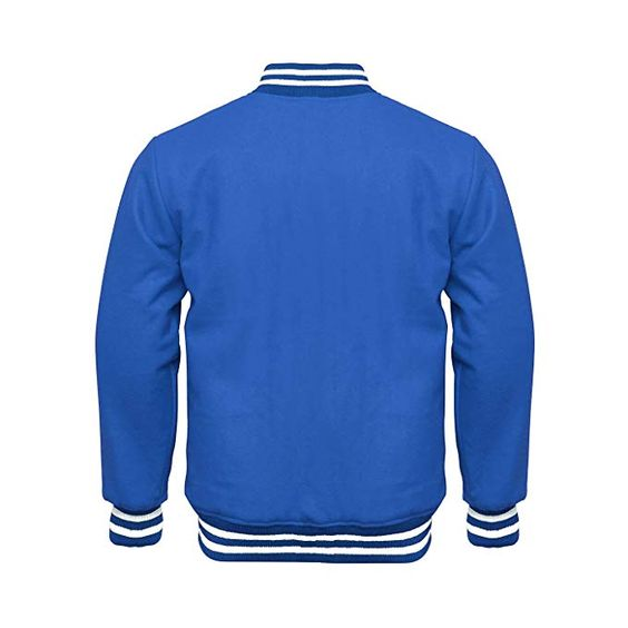 Varsity Jacket Full Wool Royal Blue White Strips1