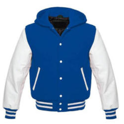 White Leather Sleeves Wool Varsity Hoodie