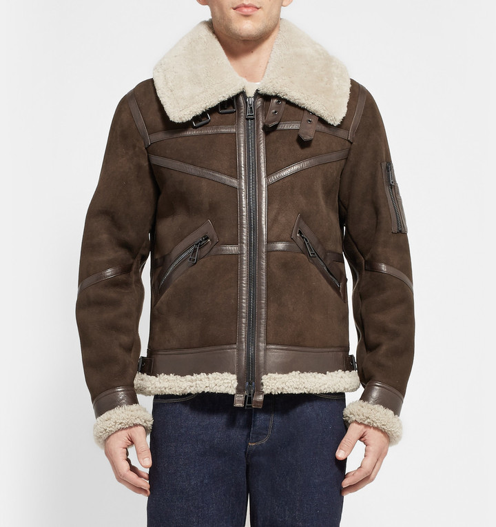 Aviator Bridlington Brown Faux Shearling Biker Jacket
