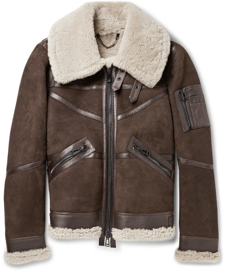 Aviator Bridlington Brown Faux Shearling Biker Jacket1