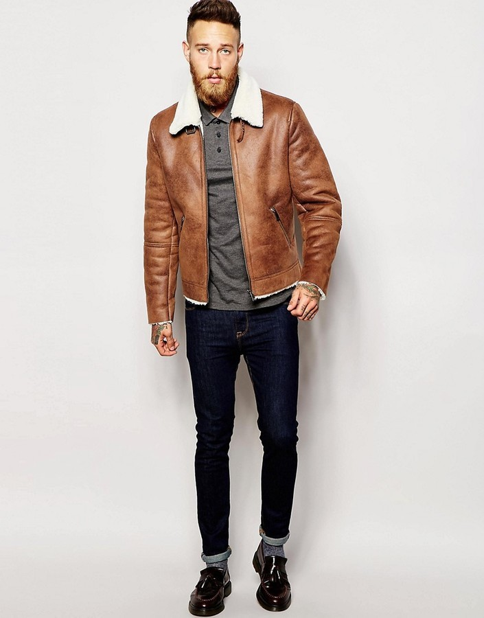 Aviator Brown Leather Faux Shearling Jacket