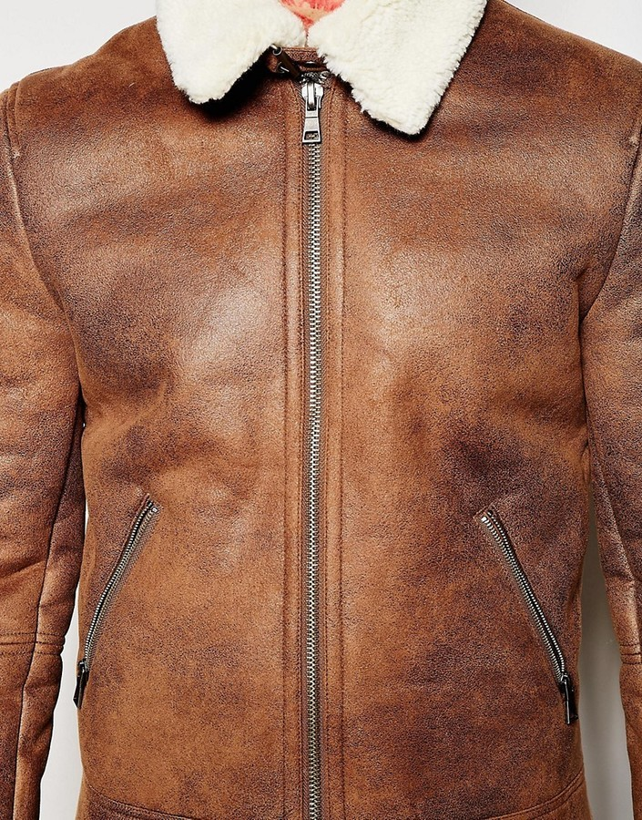 Aviator Brown Leather Faux Shearling Jacket1
