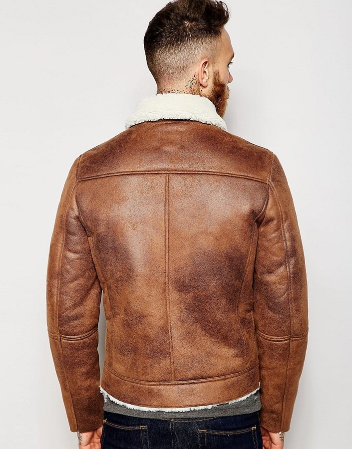 Aviator Brown Leather Faux Shearling