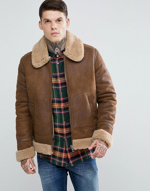Aviator Brown Leather Jacket With Faux Shearling