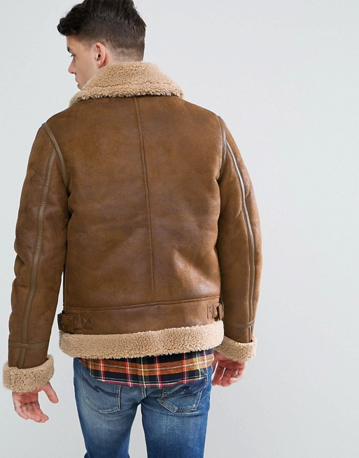 Aviator Brown Leather Jacket With Faux Shearling1