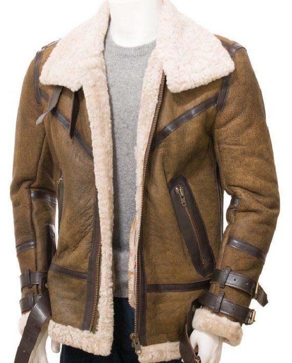 Aviator Sheepskin Leather Faux Shearling Brown Jacket (1)