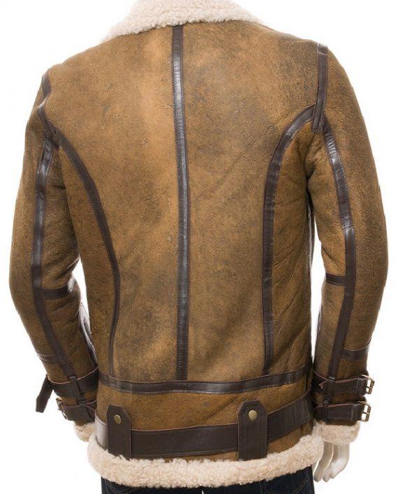 Aviator Sheepskin Leather Faux Shearling Brown Jacket (2)
