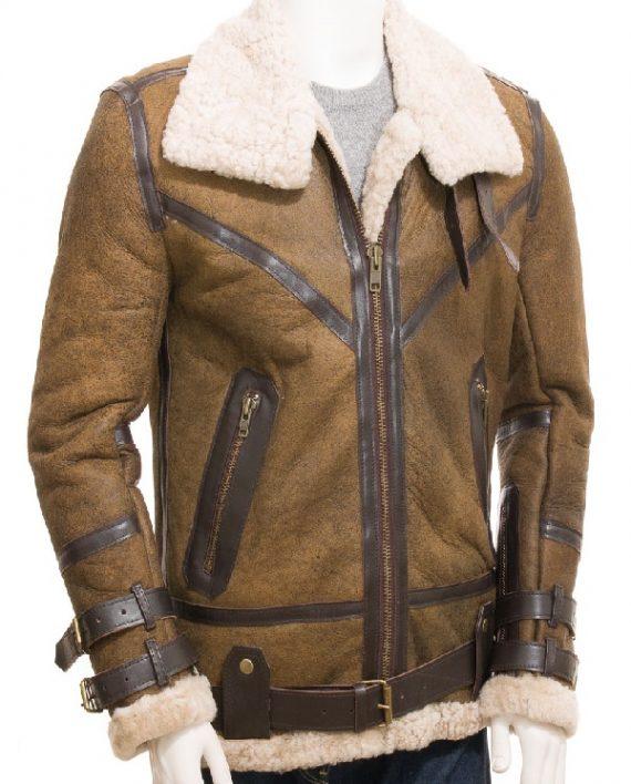 Aviator Sheepskin Leather Faux Shearling Brown Jacket (3)