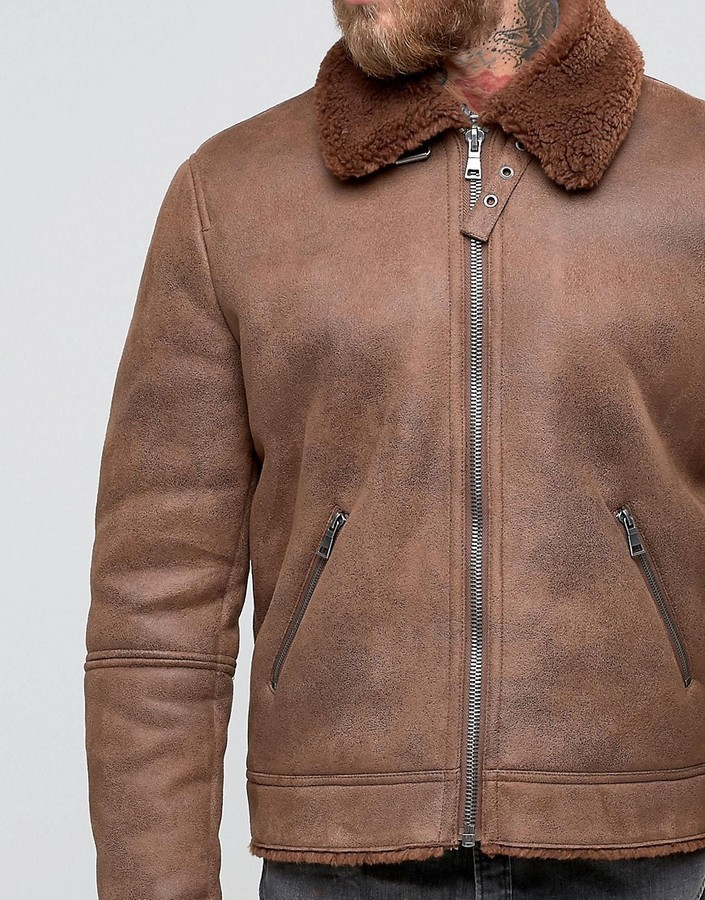 B3 Faux Shearling Brown Leather Jacket