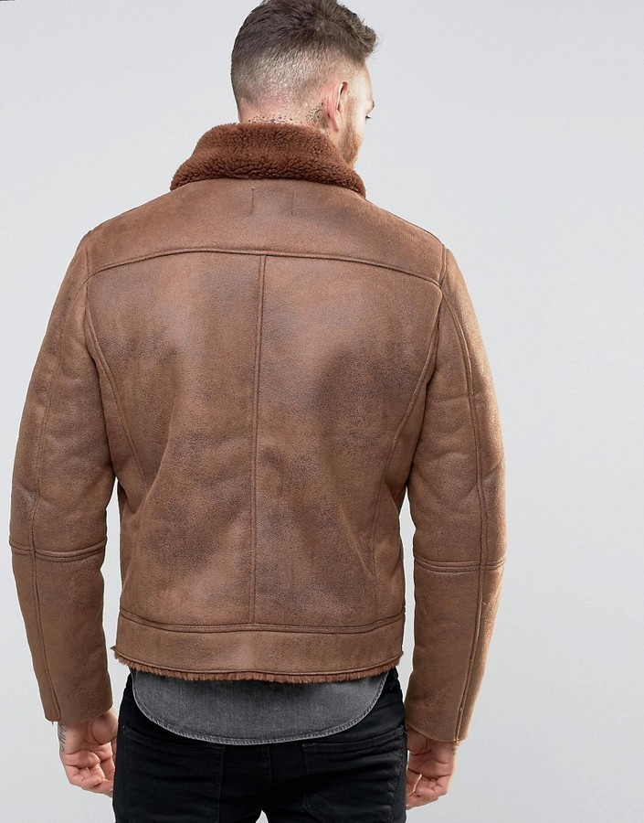 B3 Faux Shearling Brown Leather Jacket1