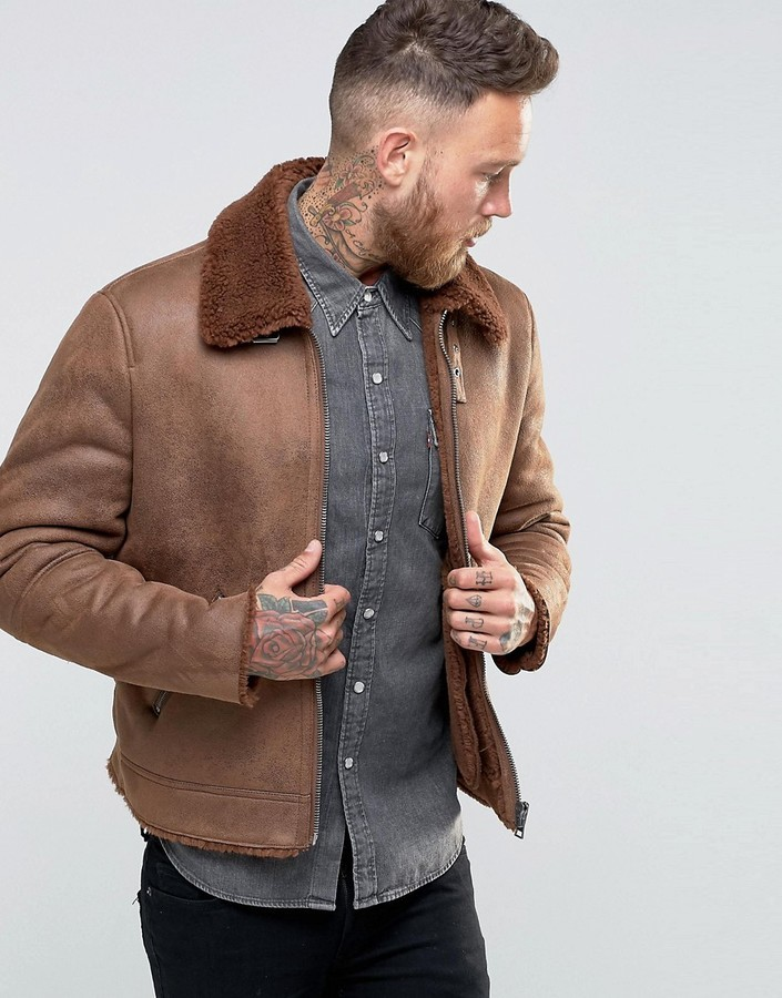B3 Faux Shearling Brown Leather Jacket3