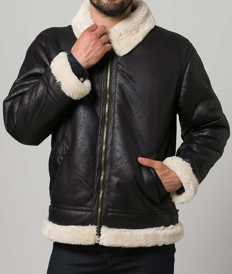 Black Aviator Faux Shearling Leather Jacket