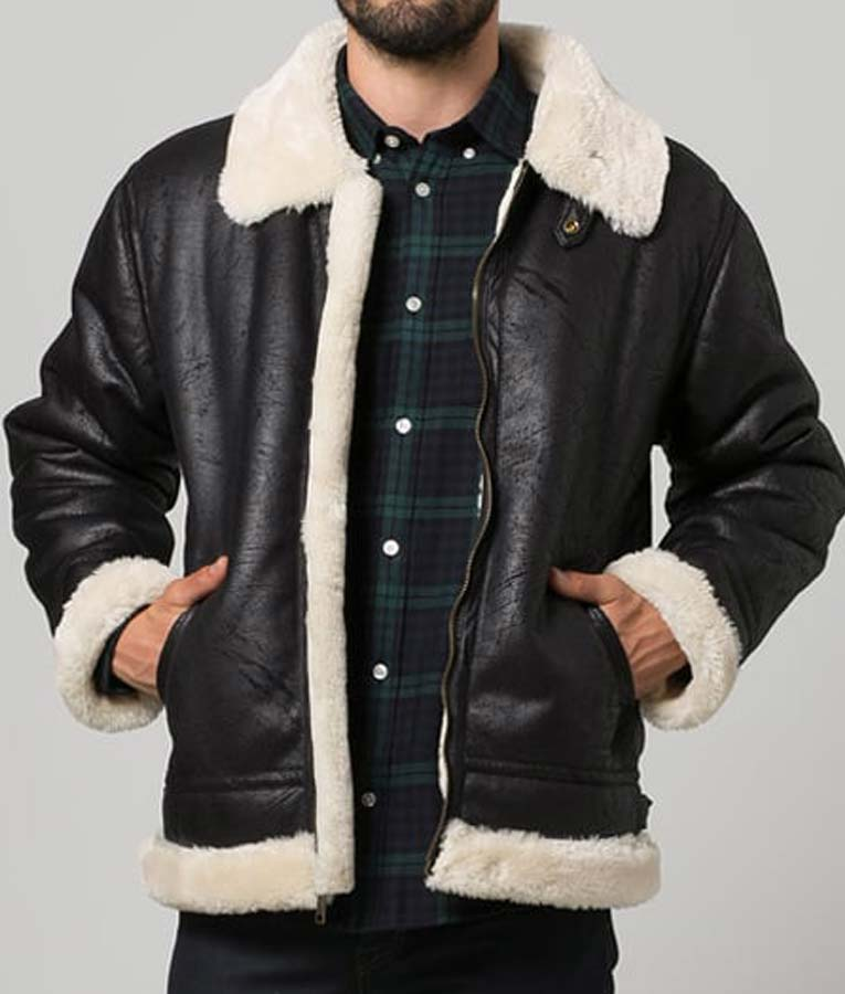 Black Aviator Faux Shearling Leather Jacket1