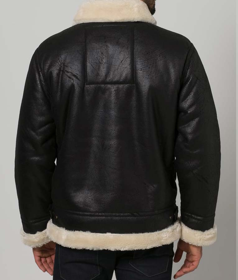 Black Aviator Faux Shearling Leather Jacket2