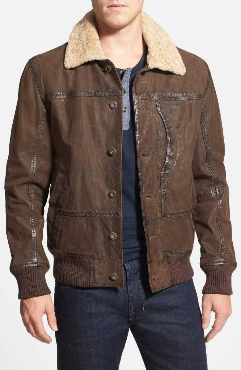 Bomber Leather Jacket with Faux Shearling Collar