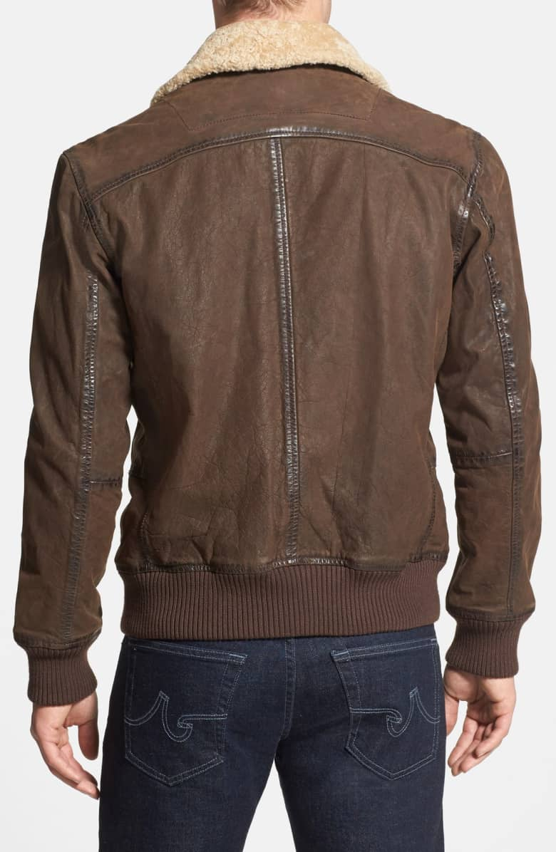 Bomber Leather Jacket with Faux Shearling Collar1