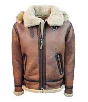 Top Gun Premium Wool Blend Shearling Leather Jacket Coat
