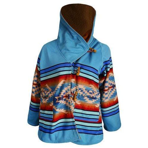 KELLY REILLY YELLOWSTONE SEASON 03 WOOL BLEND BLUE HOODED COAT