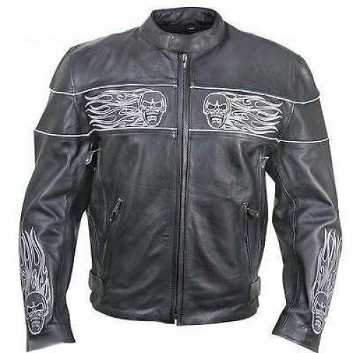HARLEY DAVIDSON SKULL COWHIDE REAL LEATHER MOTORCYCLE JACKET