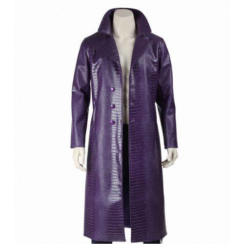 Joker Purple Crocodile Trench Coat